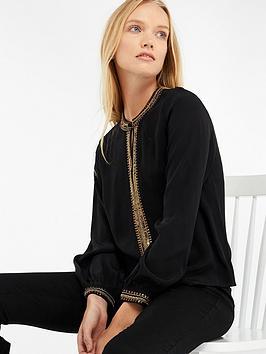 Monsoon Brooke Embellished Blouse - Black
