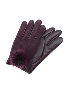 accessorize-faux-fur-pom-suede-gloves