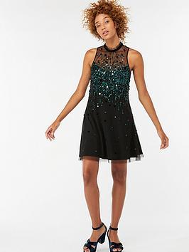 Monsoon Chameli Sequin Short Dress - Teal