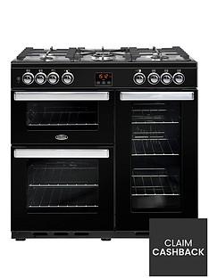 belling-90dft-cookcentre-90cm-dual-fuel-range-cooker-with-optional-connection-black