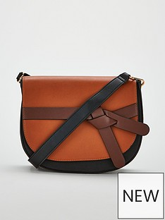 V by Very Penny Knot Strap Saddle Bag - Black Tan 57688aecec