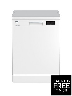 Beko DFN16420W 14-Place Freestanding Fullsize Dishwasher - White Best Price, Cheapest Prices