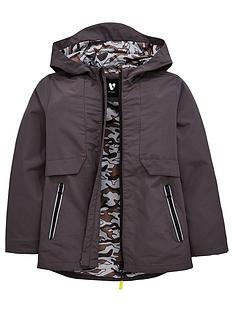 cb99459db1b8 V by Very Boys Hooded Camo Lined Tech Anorak - Charcoal