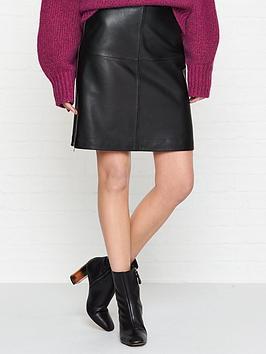 hugo-libetta-leather-skirt-black