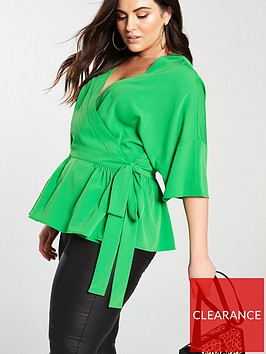 v-by-very-curve-wrap-blouse-green