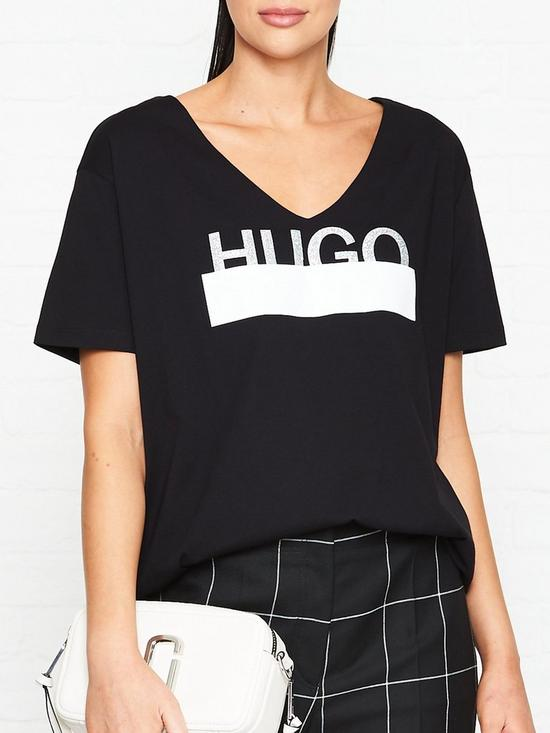 dd702a066276 HUGO Naria glitter logo t-shirt - black | very.co.uk