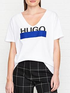 hugo-naria-glitter-logo-t-shirt-white