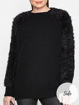 hugo-sparty-sparkle-sleeve-jumper-black