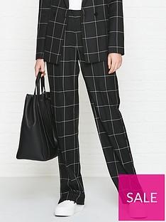 hugo-hilani-check-wide-leg-popper-detail-trousers-black