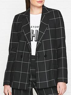 hugo-ajanisa-check-double-breasted-blazer-black
