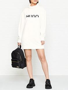 hugo-neika-logo-sweater-dress-white