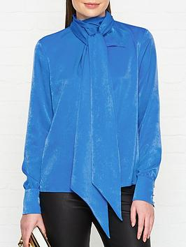 hugo-chrisha-tie-neck-long-sleeve-blouse-blue