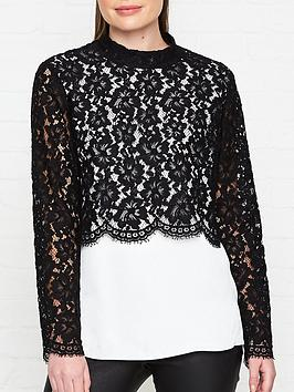 hugo-cilacy-lace-overlay-top-black