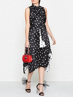 hugo-kamali-sleeveless-polka-dot-dress-black