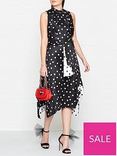 hugo-kamali-sleeveless-polka-dot-dress-black