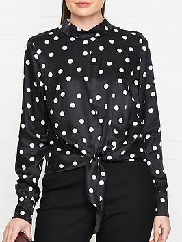hugo-catini-polka-dot-knot-front-blouse-black