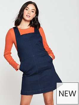 oasis-denim-button-side-pinafore-dress-blue