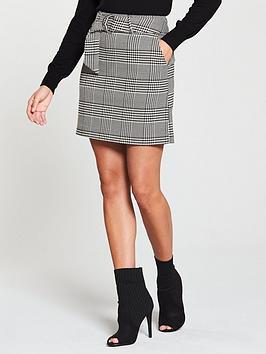 oasis-belted-poppy-skirt-check
