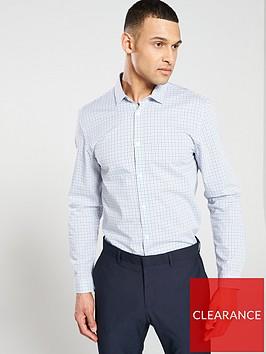 v-by-very-long-sleeved-mini-checked-shirt-navywhite