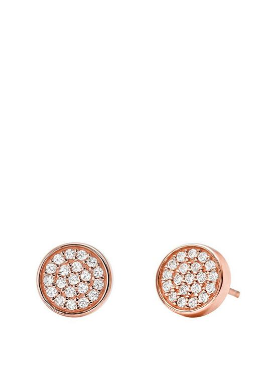 c78b66eb6 MICHAEL KORS Michael Kors Sterling Silver Rose-Gold Plated Pave Stud  Earrings
