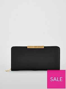 ted-baker-flow-faceted-bow-zip-around-matinee-purse-blacknbsp