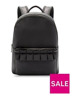 a20674b8f1dd Ted Baker Rresse Ruffle Detail Zip Backpack - Black