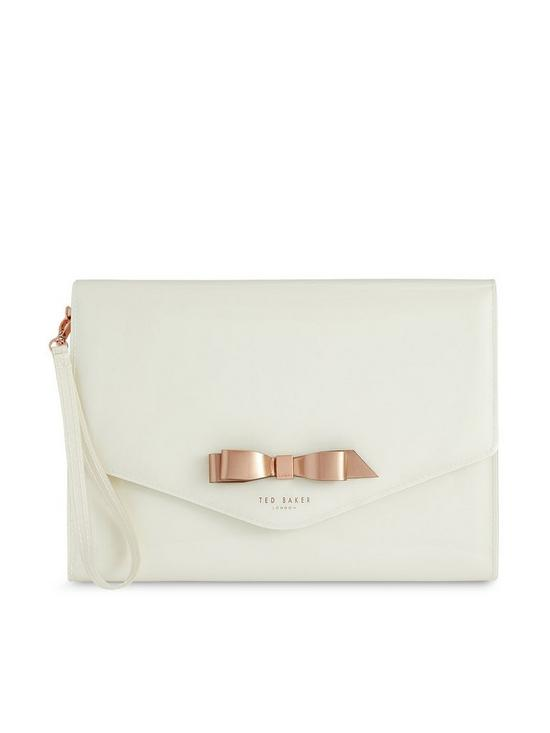 cf6b9f38763 Ted Baker Cersei Bow Envelope Pouch Bag - Ivory | very.co.uk