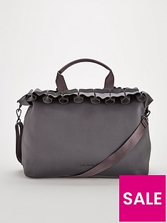 3d1c592fbd1ed3 Ted Baker Ruffle Detail Large Tote Bag - Charcoal