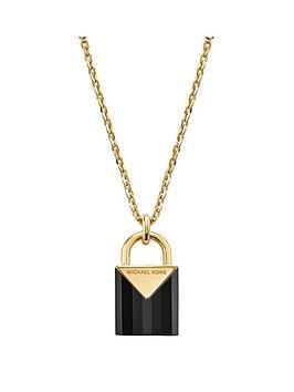 michael-kors-michael-kors-semi-precious-14ct-gold-plated-sterling-silver-padlock-necklace