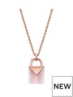 michael-kors-michael-kors-semi-precious-14ct-rose-gold-plated-sterling-silver-padlock-necklace