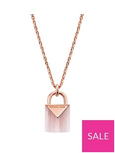 michael-kors-michael-kors-semi-precious-14ct-rose-gold-plated-sterling-silver-padlock-necklace