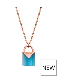 michael-kors-michael-kors-sterling-silver-rose-gold-plated-aqua-semi-precious-padlock-pendent-necklace
