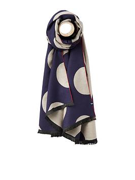 joules-navy-large-spot-jacquard-scarf