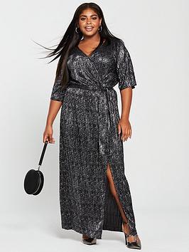 v by very curve animal plisse maxi dress - metallic