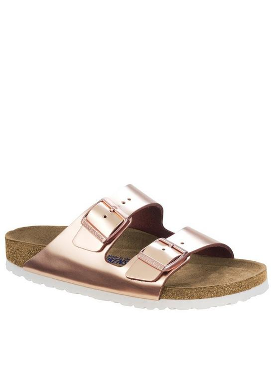 Arizona Two Strap Narrow Fit Sandals Rose Gold