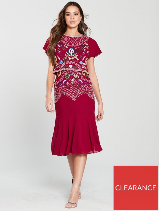4233628ecc57 Frock and Frill Embroidered Double Layer Midi Dress - Persian Red ...