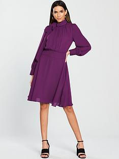 v-by-very-pussybow-midi-dress-purplenbsp