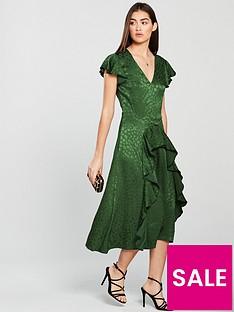 V by Very Ruffle Jacquard Dress - Green fe45efc67
