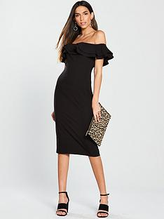 v-by-very-ruffle-bardot-bodyconnbspdress-black