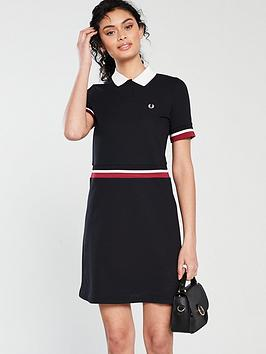 fred-perry-bold-tipped-pique-dress-black