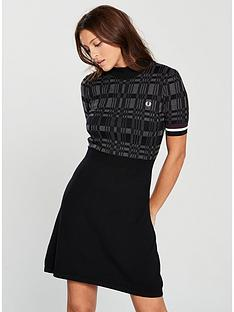 fred-perry-polo-checkered-textured-knitted-skater-dress-blackgrey