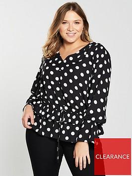 v-by-very-curve-gathered-waist-blouse-spot-print
