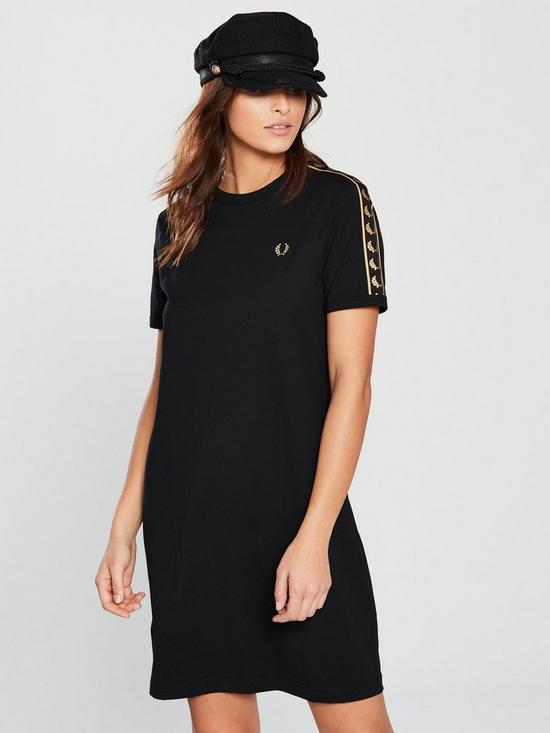 32c499226f54 Fred Perry Taped Ringer T Shirt Dress - Black | very.co.uk