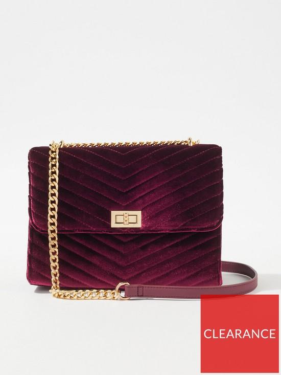 367eb5e149 Miss Selfridge Velvet Quilted Cross Body Bag - Burgundy