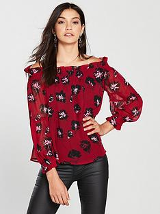 religion-religion-chemistry-bardot-floral-off-long-sleeve-blouse