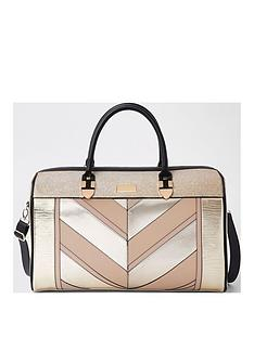 river-island-gold-panelled-weekend-bag