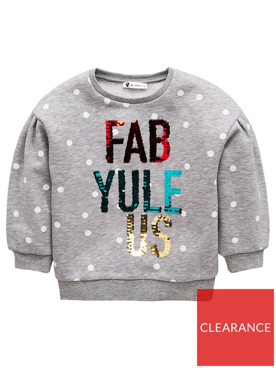 dcc48d3e Mini V by Very Girls Fab-Yule-Us Sequin Christmas Jumper - Multi ...