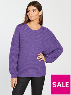 v-by-very-rib-detail-batwing-jumper-vibrant-purple