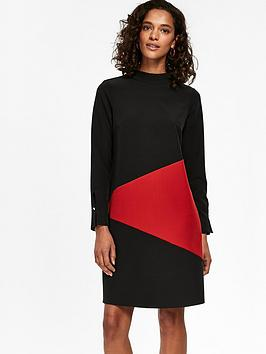 wallis-colour-block-swing-dress-black