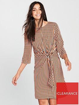 wallis-rust-stripe-knot-front-dress